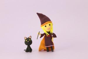 ハロウィンの子供の魔女のほうき・帽子・衣装